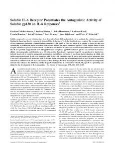 Soluble IL-6 Receptor Potentiates the Antagonistic Activity of Soluble ...