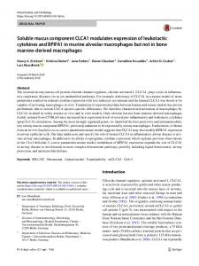 Soluble mucus component CLCA1 modulates ... - Springer Link