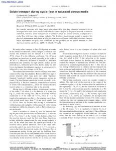 Solute transport during cyclic flow in saturated ... - Semantic Scholar