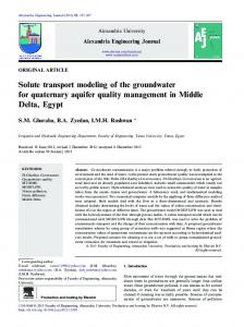 Solute transport modeling of the groundwater for quaternary ... - Core