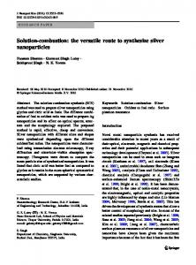 Solution-combustion: the versatile route to synthesize silver ...
