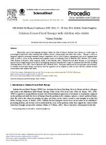 Solution Focused Brief Therapy with Children ... - ScienceDirect.com