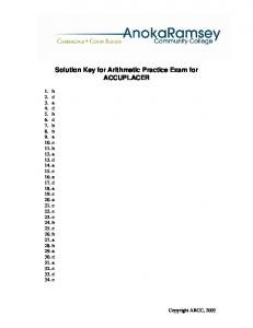 Solution Key for Arithmetic Practice Exam for ACCUPLACER