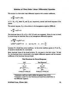 Solution of First-Order Linear Differential Equation