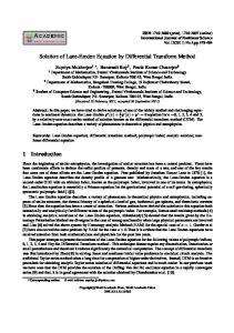 Solution of Lane-Emden Equation by Differential Transform Method 1 ...