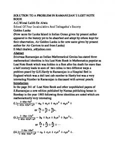 SOLUTION TO A PROBLEM IN RAMANUJAN'S LOST