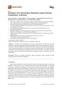 Solutions for Critical Raw Materials under Extreme Conditions - MDPI