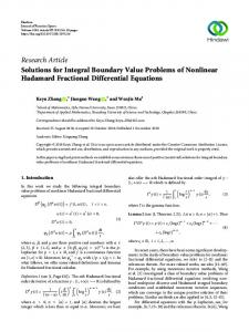 Solutions for Integral Boundary Value Problems of Nonlinear