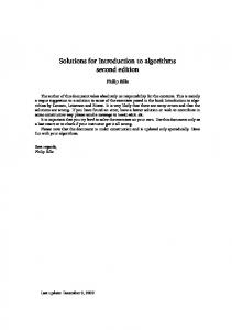 Solutions for Introduction to algorithms second edition