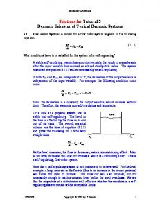Solutions for Tutorial 5 Dynamic Behavior of Typical Dynamic Systems