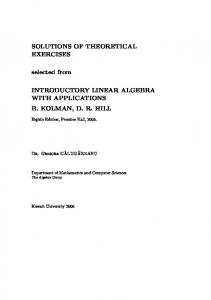 Solutions of Selected Theoretical Exercises, Linear Algebra