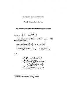 Solutions to Integration Techniques problems (PDF) - MIT ...