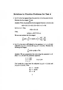 Solutions to Practice Problems for Test 4