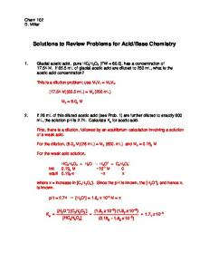 Solutions to Review Problems for Acid/Base Chemistry