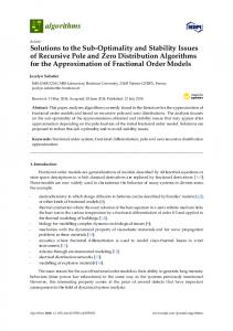Solutions to the Sub-Optimality and Stability Issues of ... - MDPI