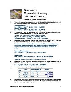 Solutions to Time Value of Money Practice Problems