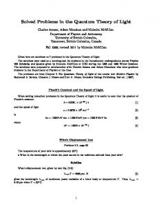 Solved Problems in the Quantum Theory of Light - UBC Physics ...