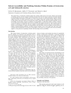 Solvent Accessibility and Purifying Selection Within Proteins of ...