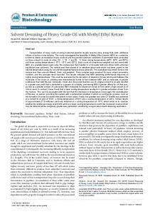 Solvent Dewaxing of Heavy Crude Oil with Methyl Ethyl Ketone