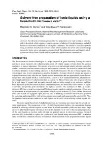 Solvent-free preparation of ionic liquids using a
