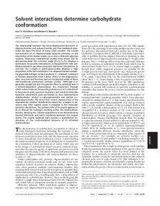 Solvent interactions determine carbohydrate conformation