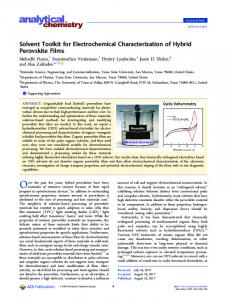 Solvent Toolkit for Electrochemical ... - ACS Publications