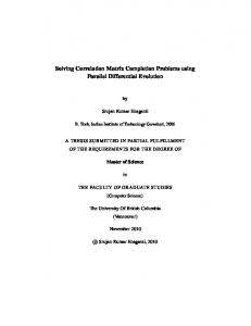 Solving Correlation Matrix Completion Problems ... - Open Collections