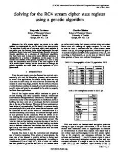 Solving for the RC4 stream cipher state register using a genetic ...
