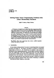 Solving Fuzzy Linear Programming Problems with Linear ...
