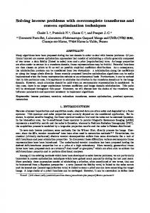 Solving inverse problems with overcomplete transforms ... - CiteSeerX