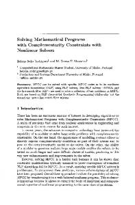 Solving Mathematical Programs with Complementarity ... - Springer Link
