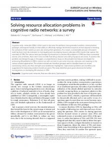 Solving resource allocation problems in cognitive radio networks: a ...