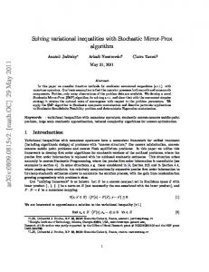 Solving variational inequalities with Stochastic Mirror-Prox algorithm