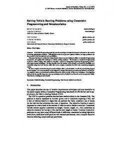 Solving Vehicle Routing Problems using Constraint ... - CiteSeerX
