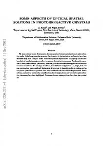 Some Aspects of Optical Spatial Solitons in Photorefractive Crystals