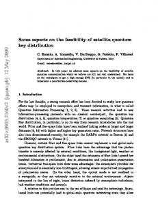 Some aspects on the feasibility of satellite quantum key distribution
