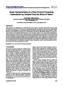 Some Characteristics of a Plant Growth Promoting Enterobacter sp ...
