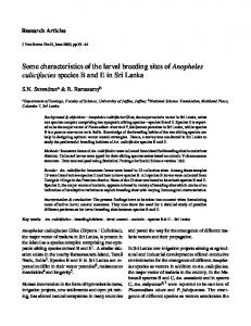 Some characteristics of the larval breeding sites of ... - Semantic Scholar