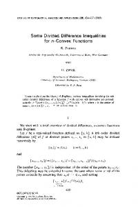 Some Divided Difference Inequalities for n-Convex Functions ... - Core