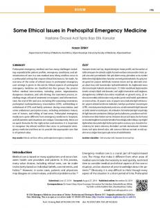 Some Ethical Issues in Prehospital Emergency Medicine