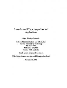 Some Gronwall Type Inequalities and Applications - RGMIA