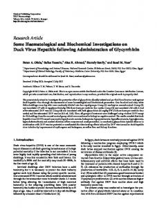 Some Haematological and Biochemical Investigations on Duck Virus