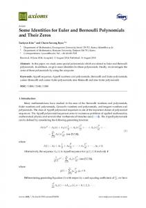 Some Identities for Euler and Bernoulli Polynomials and Their ... - MDPI