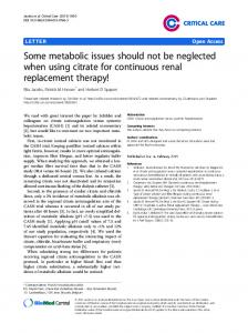 Some metabolic issues should not be neglected when using ... - Core