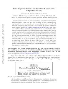 Some Negative Remarks on Operational Approaches to Quantum ...