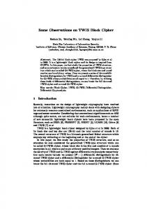 Some Observations on TWIS Block Cipher - Cryptology ePrint Archive
