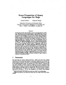 Some Properties of Query Languages for Bags - Semantic Scholar