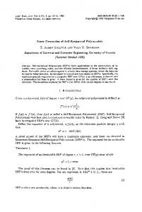 Some Properties of Self-Reciprocal Polynomials ...