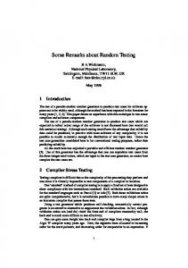 Some Remarks about Random Testing - National Physical Laboratory