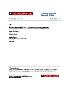 Some remarks on authentication systems
